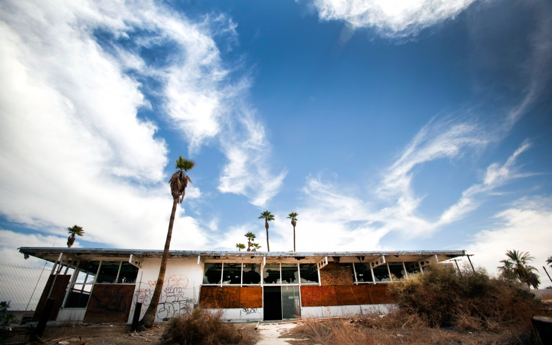 Remains of Desert Shores' yacht club.